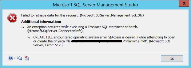 SQL Server – attach database – Access is denied error – Adicto